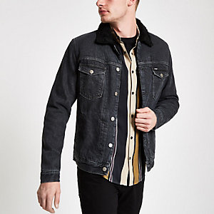 Wrangler black shearling denim trucker jacket