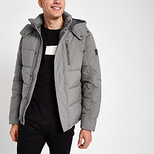 Wrangler grey hooded puffer jacket