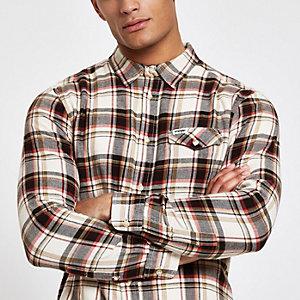 Wrangler – Chemise manches longues à carreaux rouge