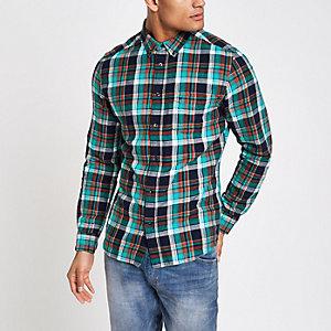 Wrangler - Blauw geruit overhemd met lange mouwen