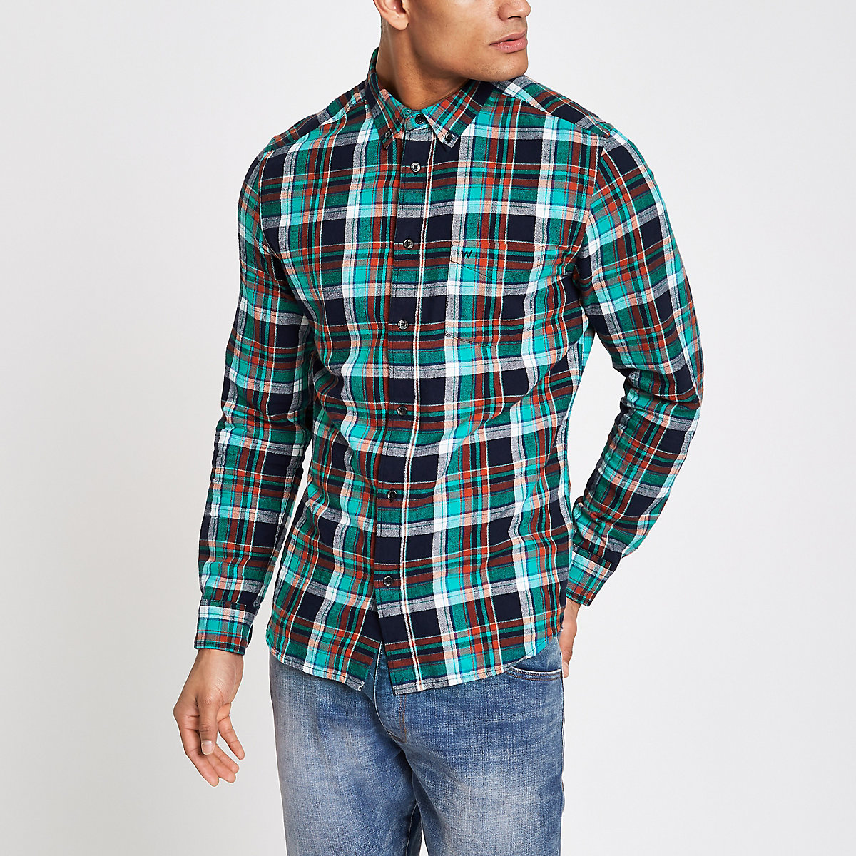Wrangler blue long sleeve check shirt
