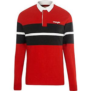 Wrangler – Rotes, langärmliges Polohemd in Blockfarbe