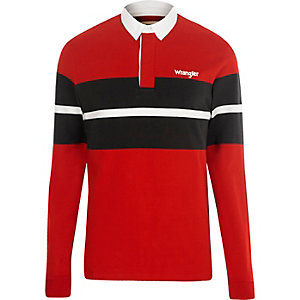 Wrangler red block long sleeve polo shirt
