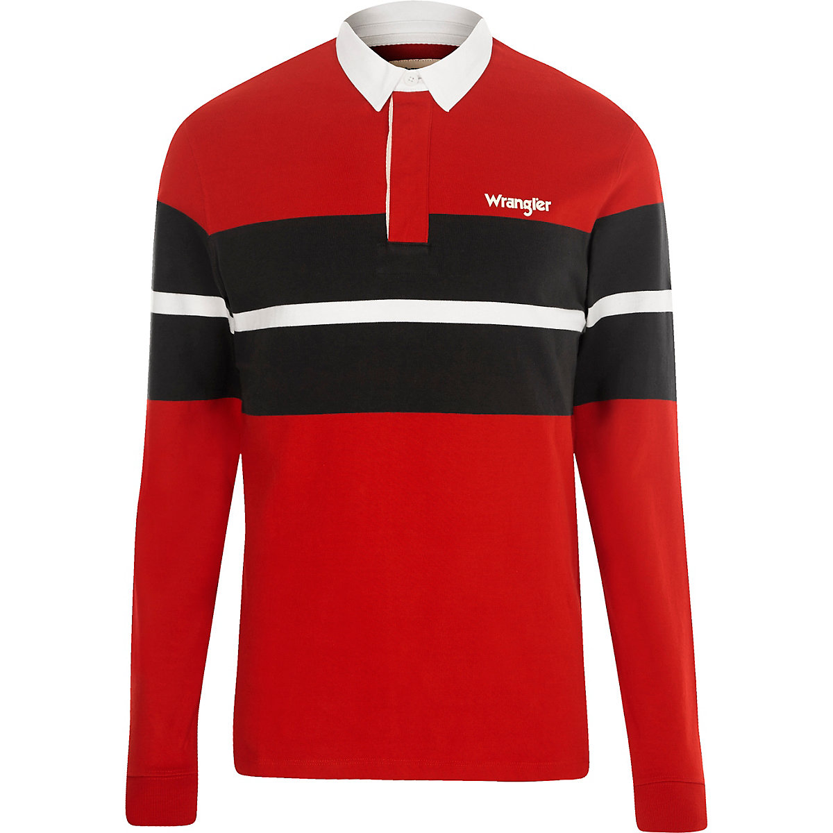Wrangler red block long sleeve rugby shirt