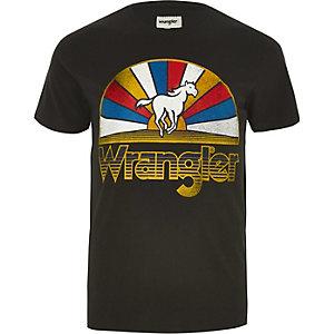 Wrangler - Zwart T-shirt met paard-logo