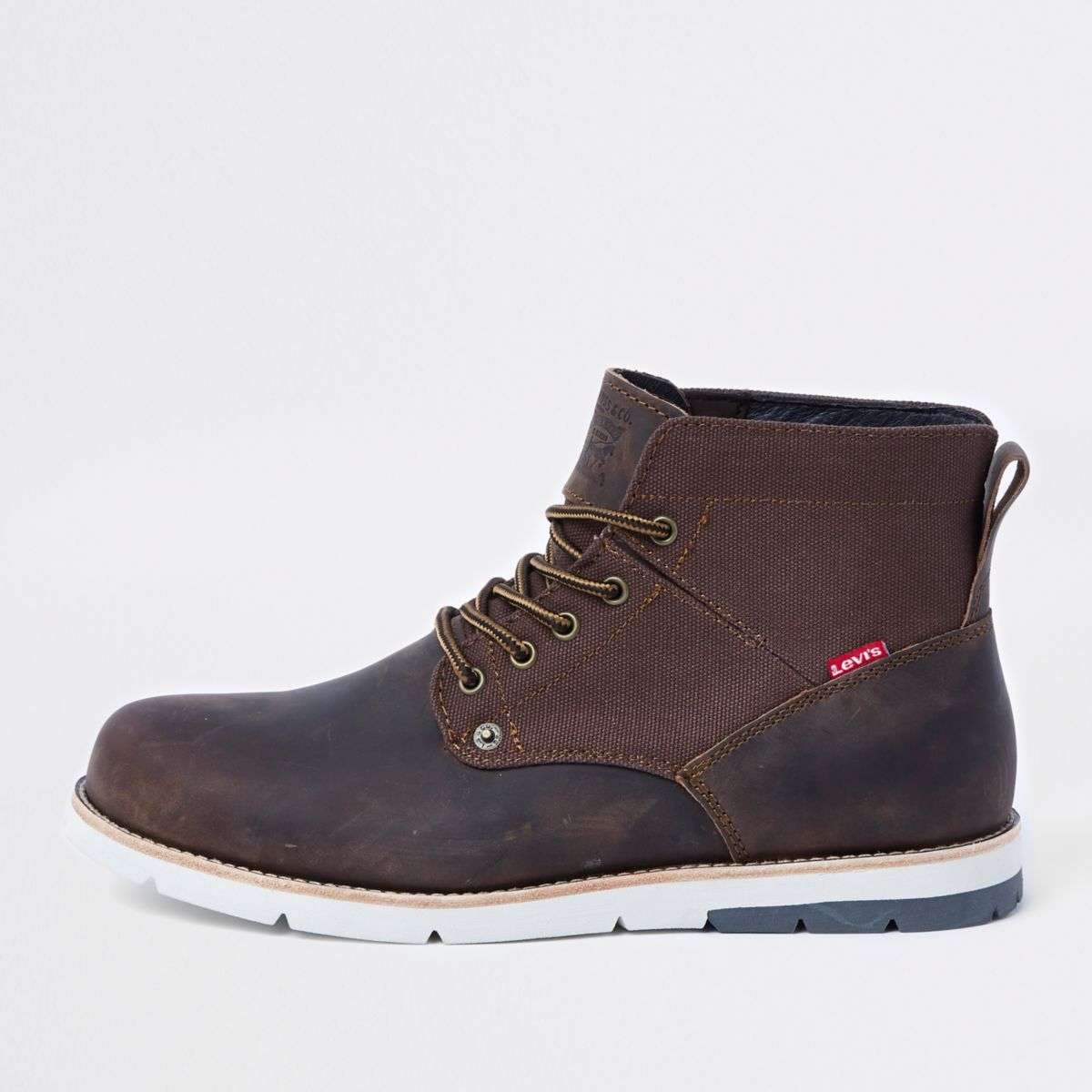 Levi's dark brown leather lace-up work boots