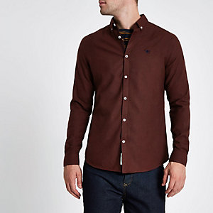 Donkerrood flanellen overhemd met lange mouwen