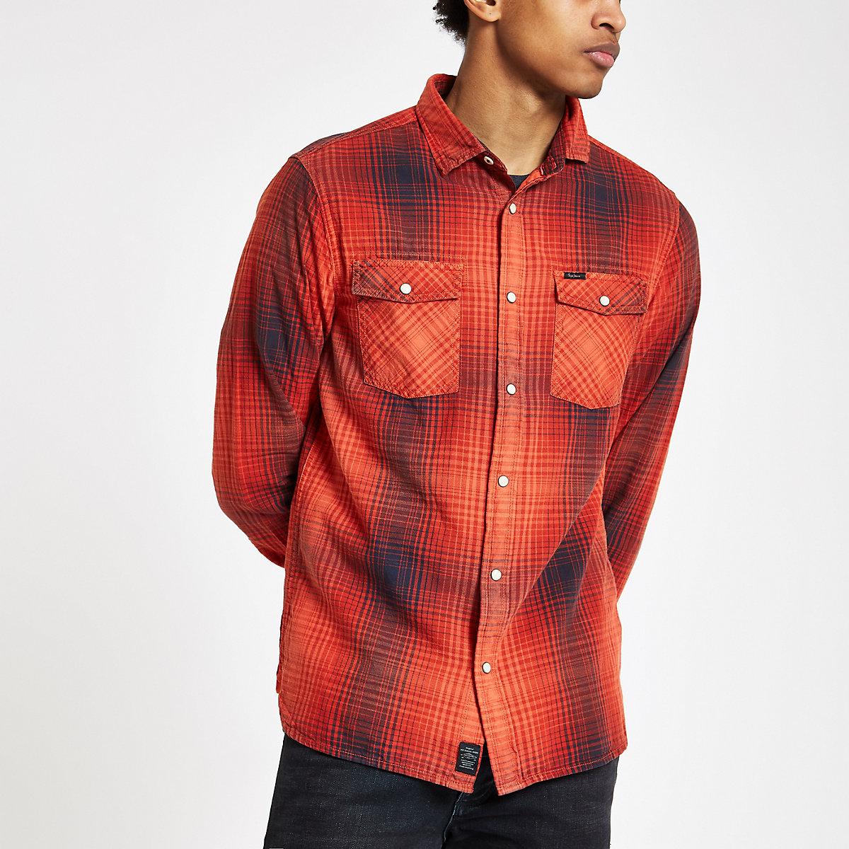 Pepe Jeans – Rotes, kariertes Button-Down-Hemd - Langärmelige Hemden ... 59b42765cc