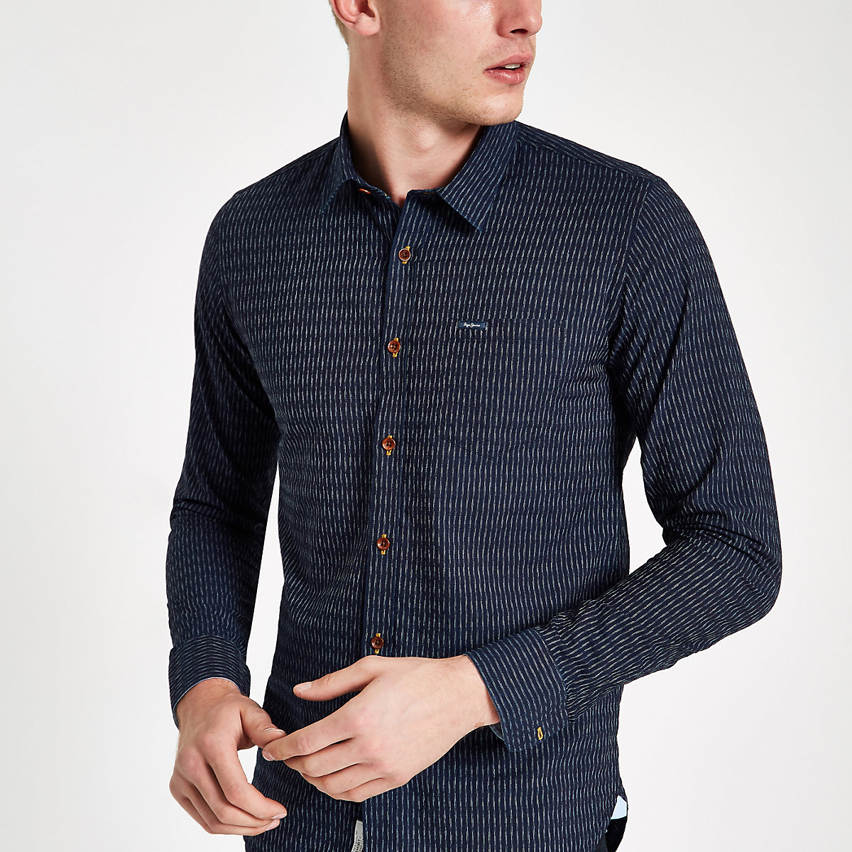Pepe Jeans blue Chesterfield shirt