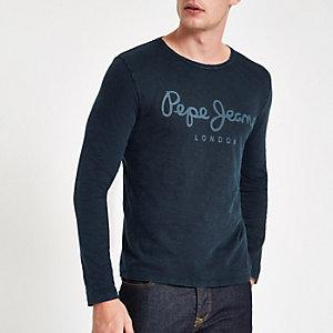Pepe Jeans – Blaues, langärmliges T-Shirt