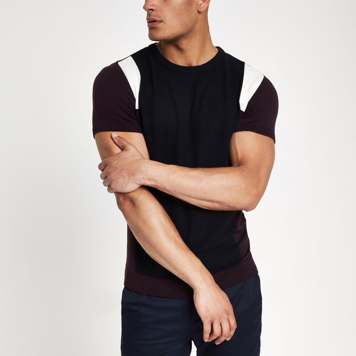 Dark red knit block print slim fit T-shirt