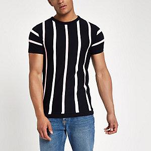 Marineblauw gebreid slim-fit T-shirt met strepen