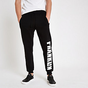 Franklin & Marshall – Pantalon de jogging en molleton noir