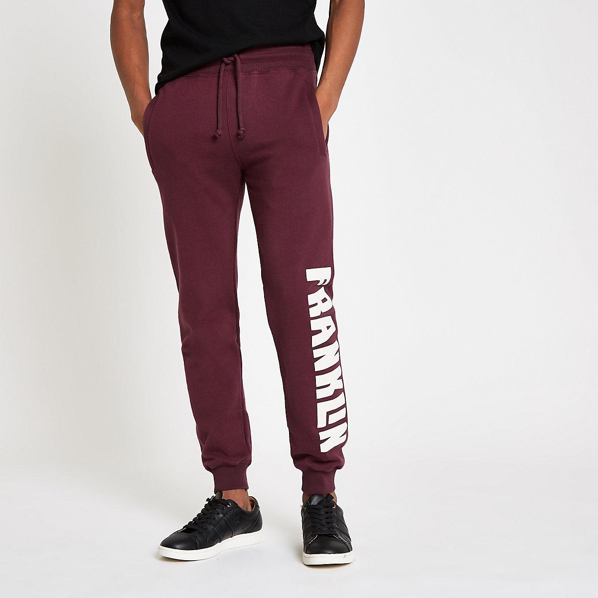 Franklin & Marshall burgundy fleece joggers