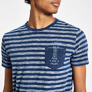 Pepe Jeans - Blauw gestreept T-shirt