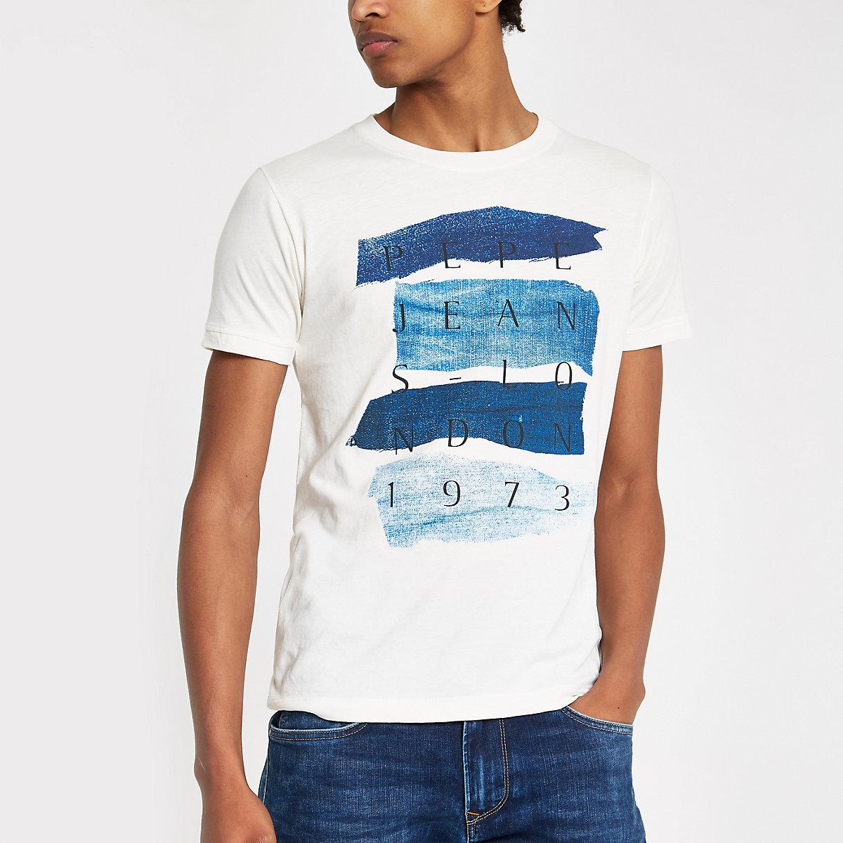 Pepe Jeans cream slim fit '1973' T-shirt