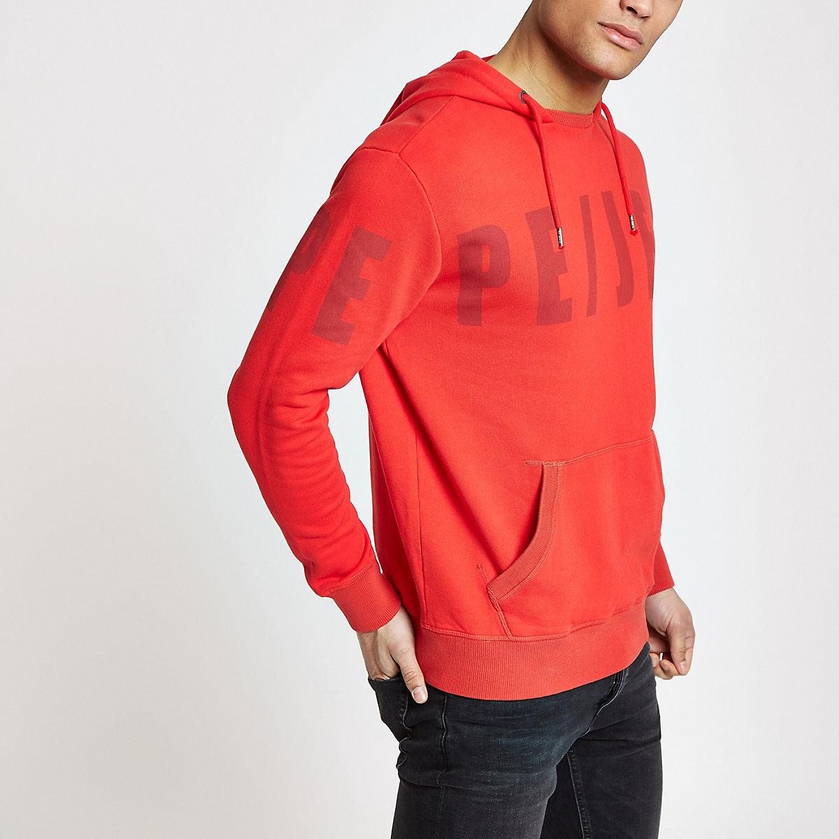 Pepe Jeans red logo hoodie