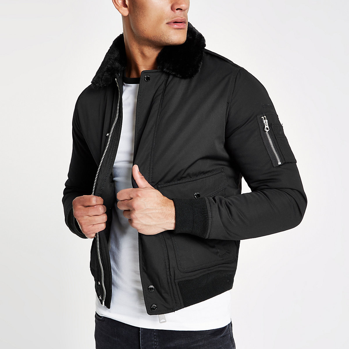 Schott black faux fur collar jacket