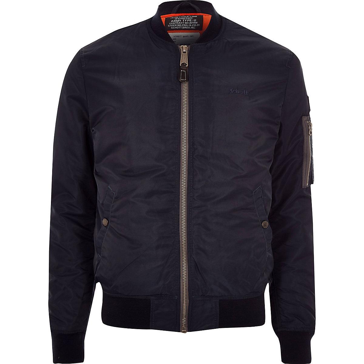 Schott dark blue bomber jacket