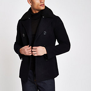 Schott navy wool blend fleece pea coat