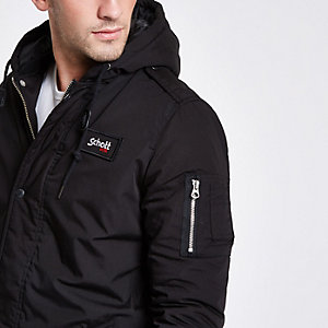 Schott black hooded jacket