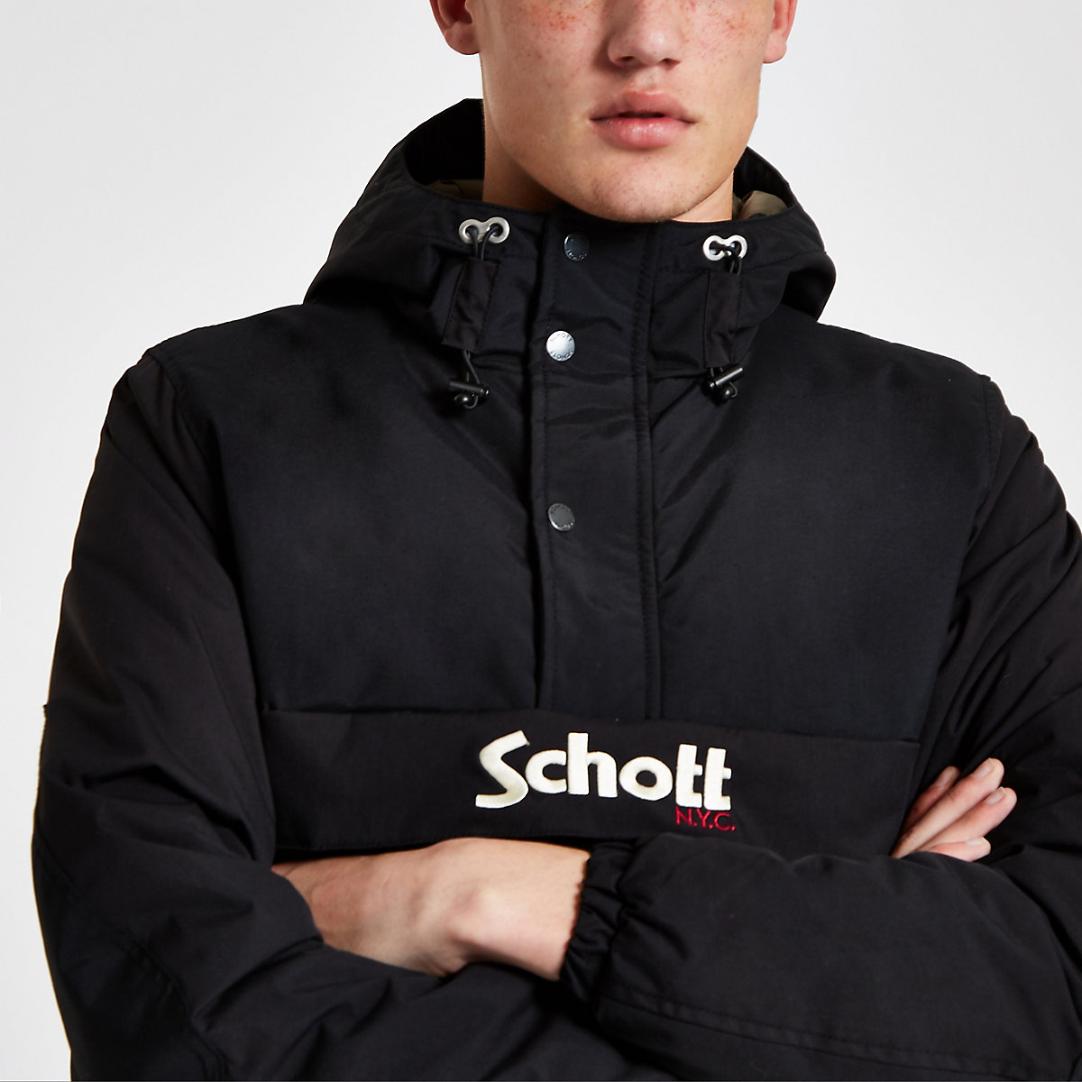 Schott black anorak jacket