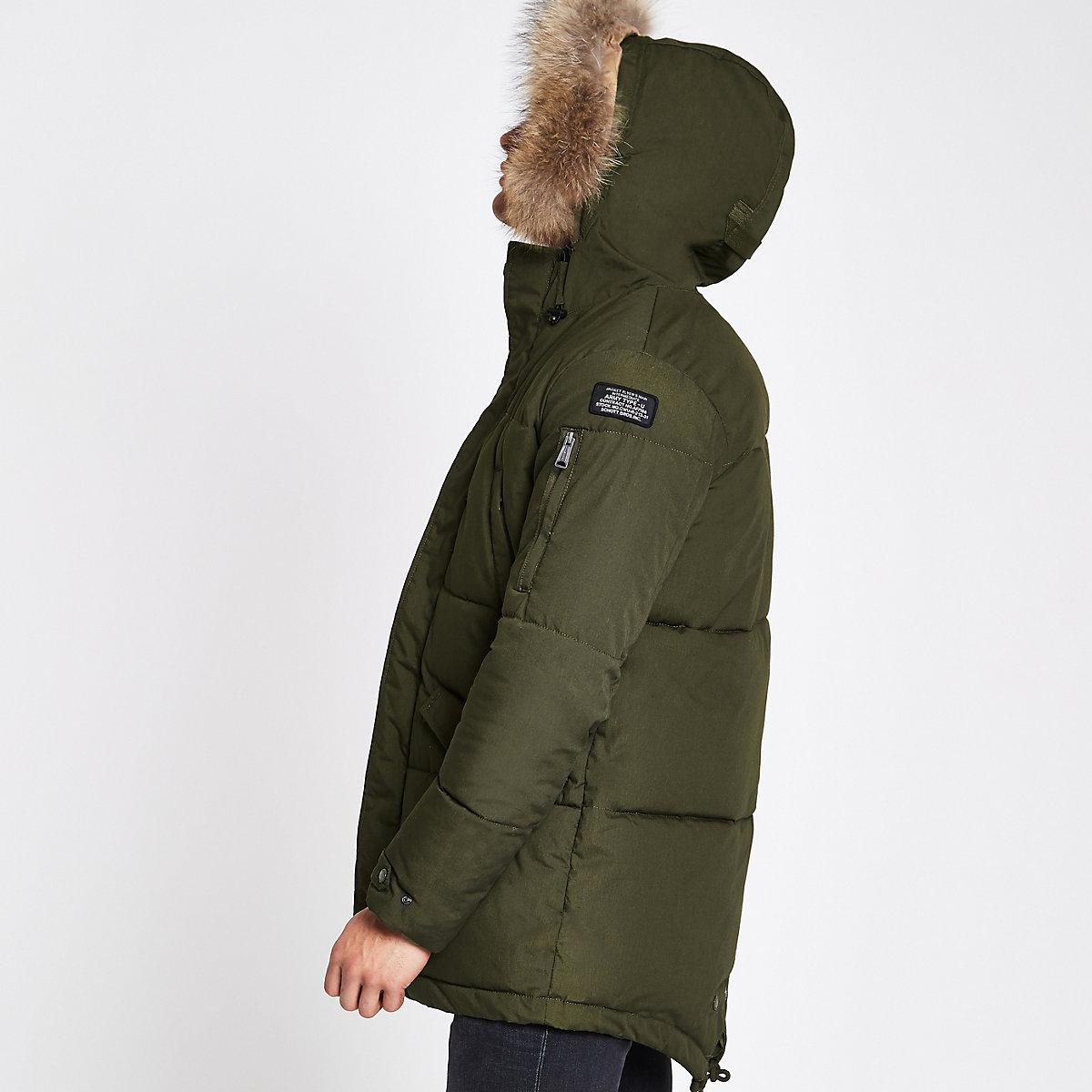 Schott dark green hooded padded coat