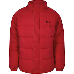 Schott red hidden hood puffer jacket