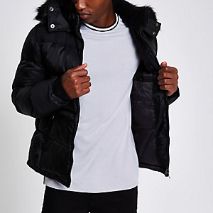 Schott black faux fur hood puffer jacket