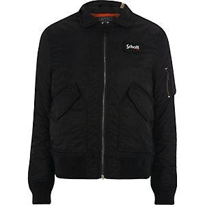 Schott – Schwarze Jacke mit Kragen