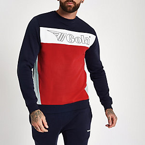 Gola navy logo panel print sweatshirt