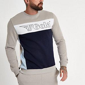 Gola - Kiezelkleurig sweatshirt met logo en print