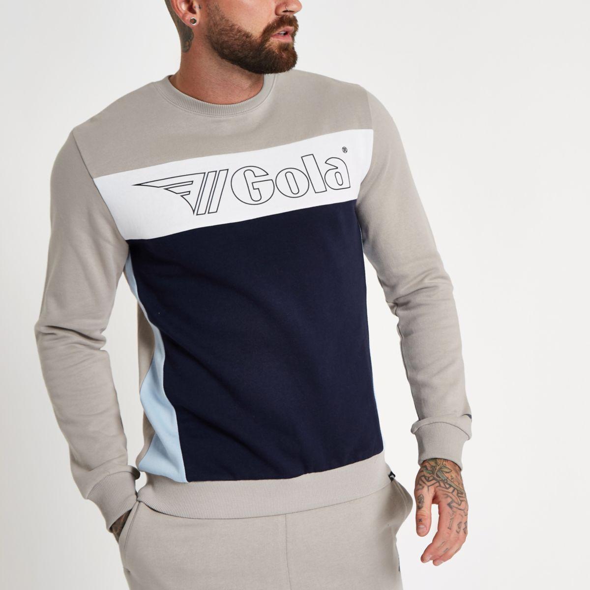 Gola stone logo panel print sweatshirt