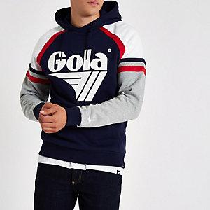 Gola – Sweat à capuche bleu marine à empiècement et imprimé logo
