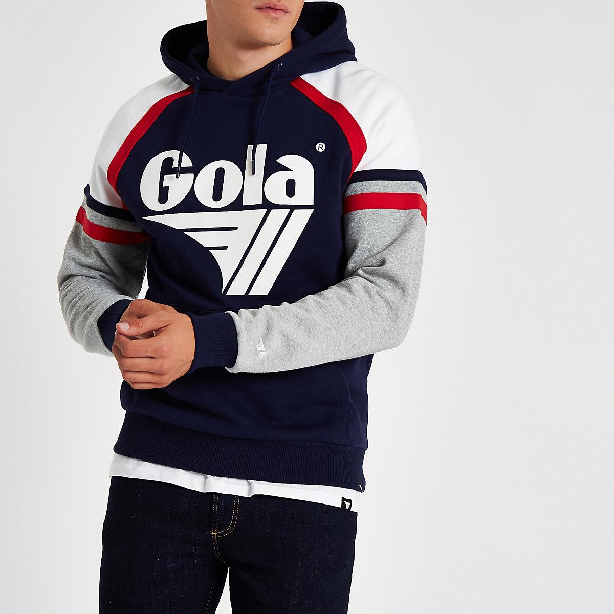 Gola navy logo panel print hoodie