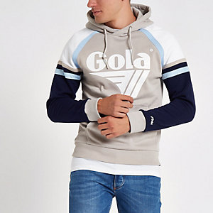 Gola – Sweat à capuche à empiècement grège