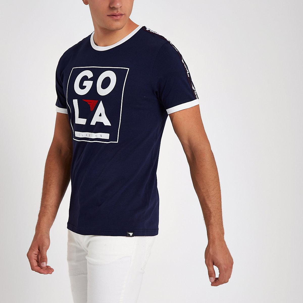 Gola navy velvet box print tape T-shirt