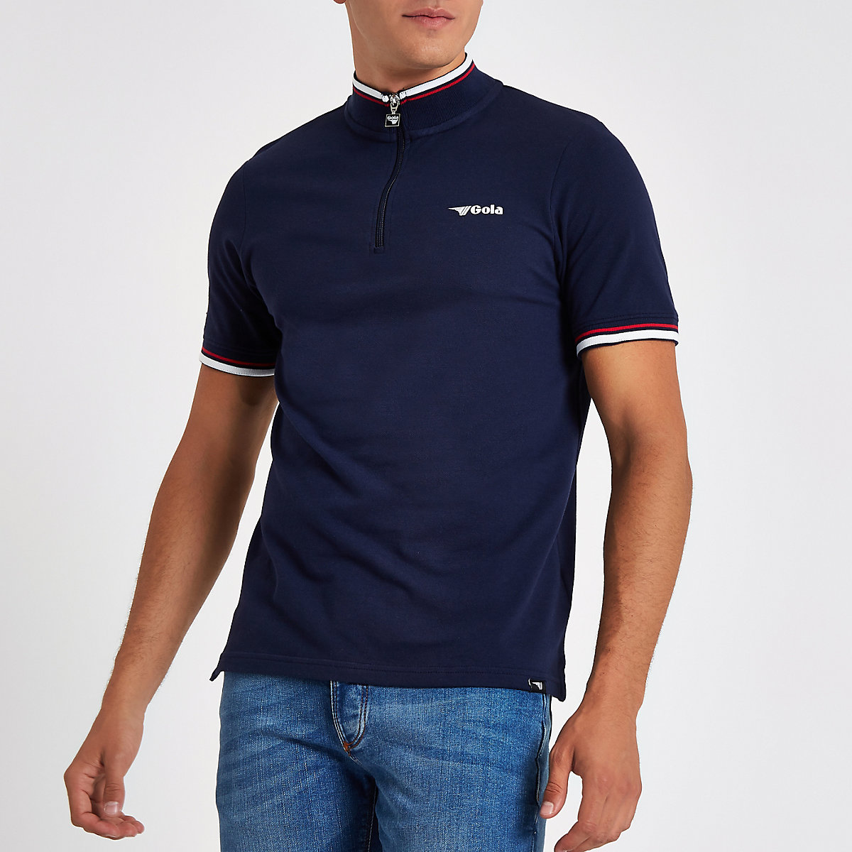Gola navy funnel neck zip front T-shirt