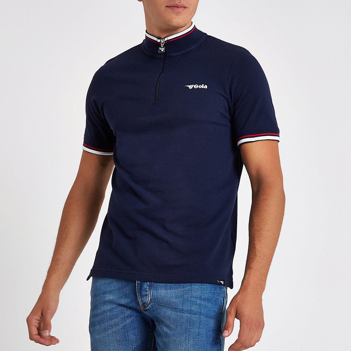 Gola navy funnel neck zip front T-shirt