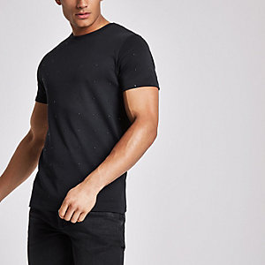 Black studded slim fit crew neck T-shirt