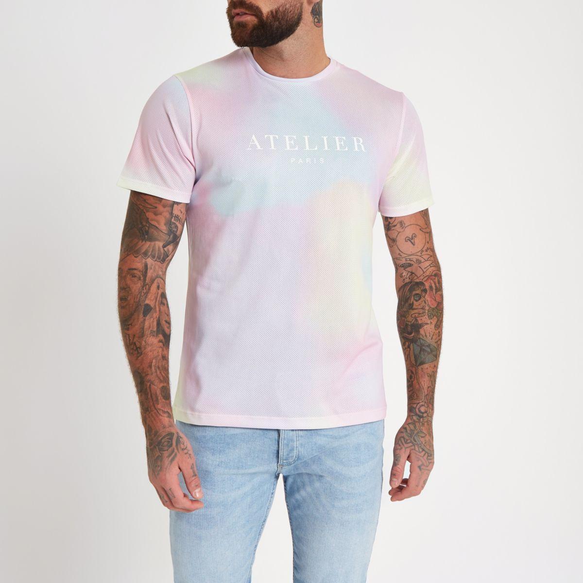 slim T tie fit dye neck crew shirt Pink YEPqwxY