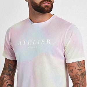 Roze tie-dye slim-fit T-shirt met ronde hals
