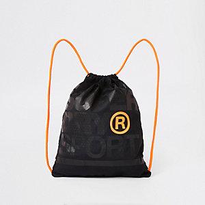 Superdry – Schwarze Tasche mit Kordelzug und Stickerei