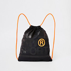 Superdry black embroidery drawstring bag