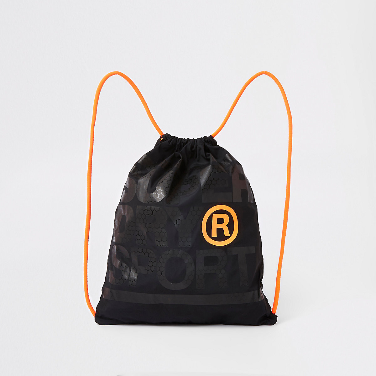 Superdry black logo print drawstring bag