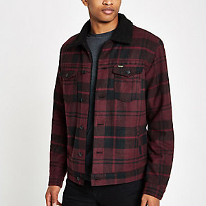 Wrangler dark red check trucker jacket