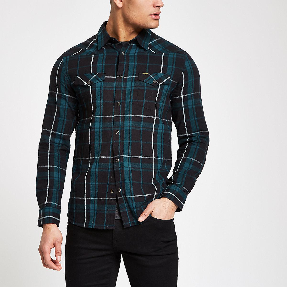Wrangler green check long sleeve shirt
