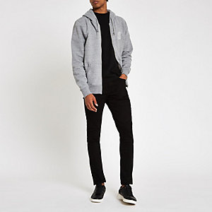 Franklin & Marshall grey zip front hoodie