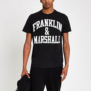 Franklin & Marshall – Schwarzes T-Shirt mit Logo-Print