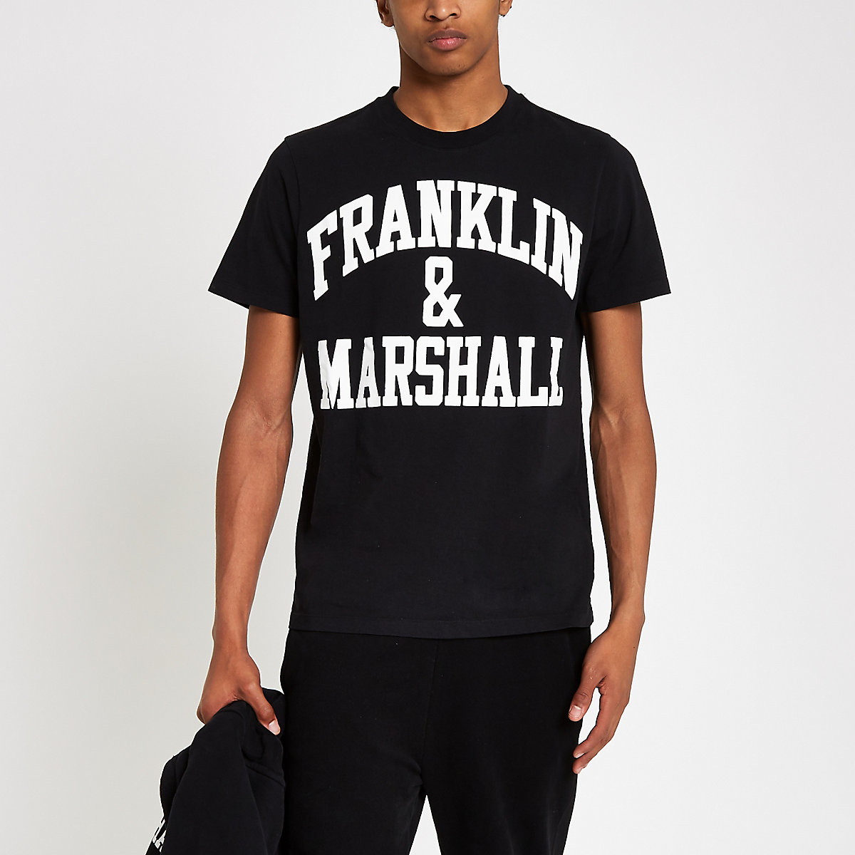 Franklin & Marshall black logo print T-shirt